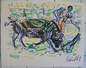 *3034 pastel sur papier Manuel GIL (1944)  la corrida 63 cm x 49 cm