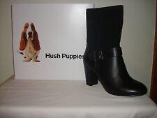 Hush Puppies Dakota Sisany Womens Black Leather/Suede Boot Waterproof Sz 6.5 NIB