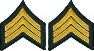 Set of 2 yellow gold on black Corporal stripes