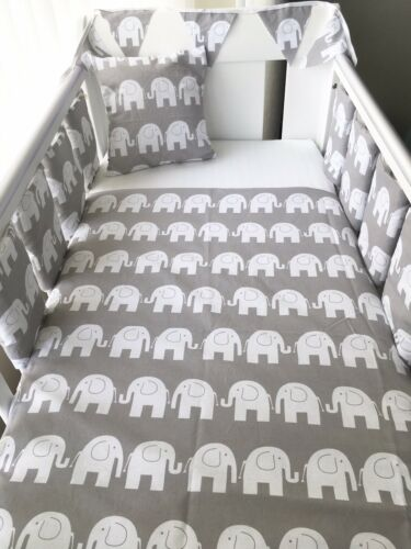 Handmade Cot Bar Bumpers Set Of 8 Grey Elephants New Baby Unisex Shower Gift