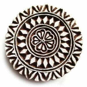 HOLZSTEMPEL-MANDALA-D-8-cm-Textilstempel-Indien-Henna-Seifenstempel-Floral-Wood
