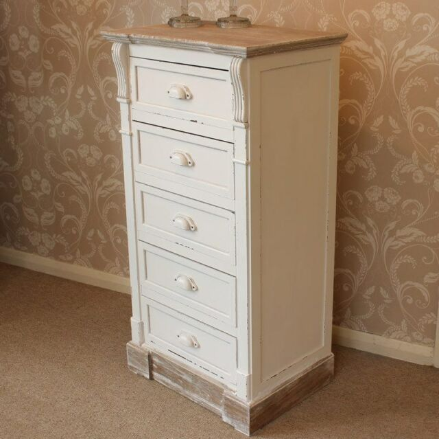Shabby Chic Tallboy White Vintage Furniture Tall Chest 5 Drawers