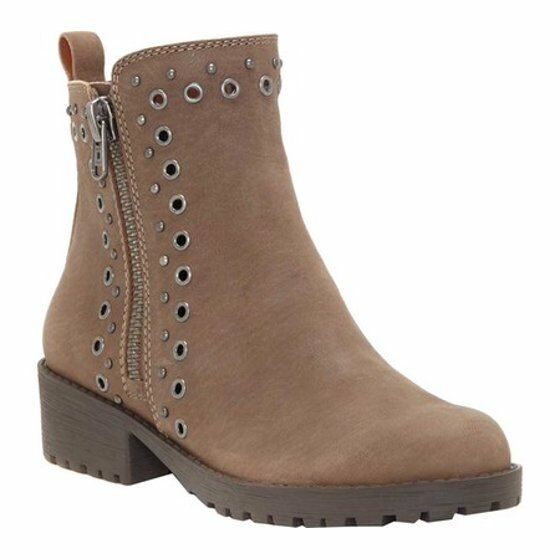 Lucky Brand Hannie Grommet-Studded démarrageies Taupe Leather Pick A Taille MSRP  149