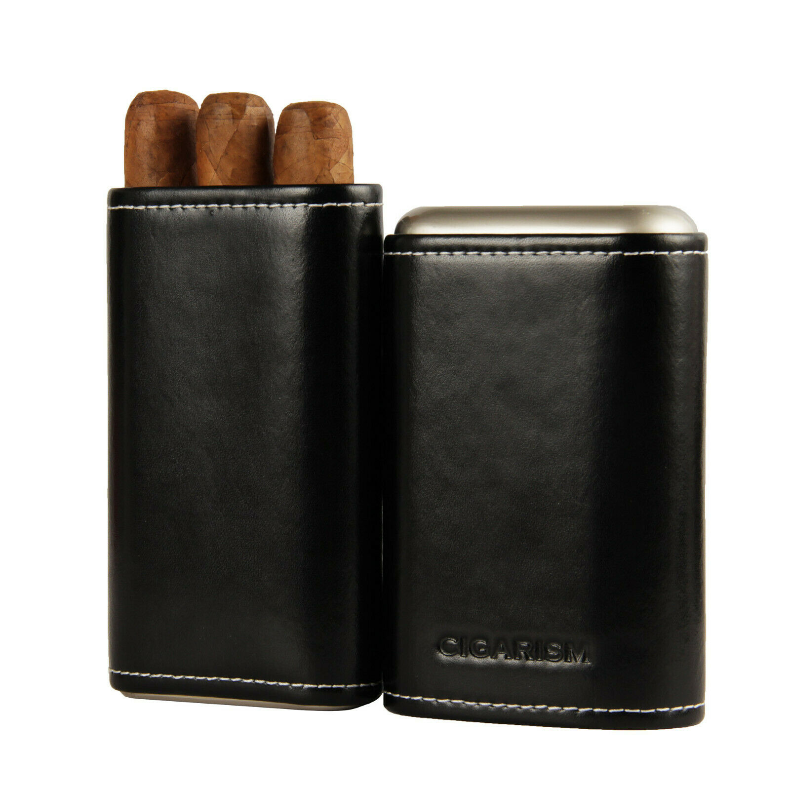 P /& K Products COHIBA Brown Leather Holder Two Tube Travel Cigar Case Humidor 2 Tube 6H
