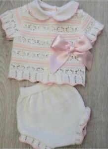 Baby-Girls-Pink-Knitted-Pink-amp-white-striped-romper-amp-top-set-pom-poms-0-9M