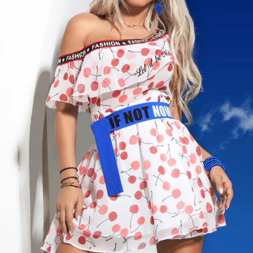 By Alina mexton donna miniabito abito estivo ciliegie spiaggia vestito print XS-M