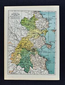 Map Of Ireland To New York.1902 Ireland Map Dublin County Kingston Bray Howth Swords