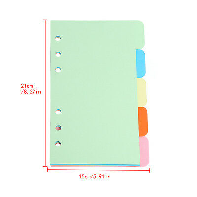 5Pcs Refills 6 Hole Blank Colorful Paper for A5 A6 Loose Leaf Binder Notebook
