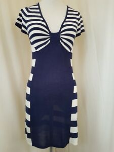 Jane-Norman-Navy-And-White-Strippy-Dress-Size-12-AV7-15