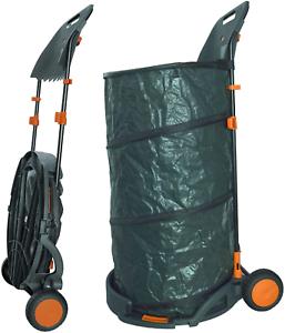 Agora-Tec® Laubsack//Gartensack 160L Selbstaufstellend Fahrbar Mit Rädern Und F