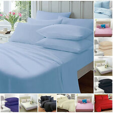 FITTED SHEETS PERCALE PLAIN DYED LUXURY COMBED NON IRON SINGLE DOUBLE KING