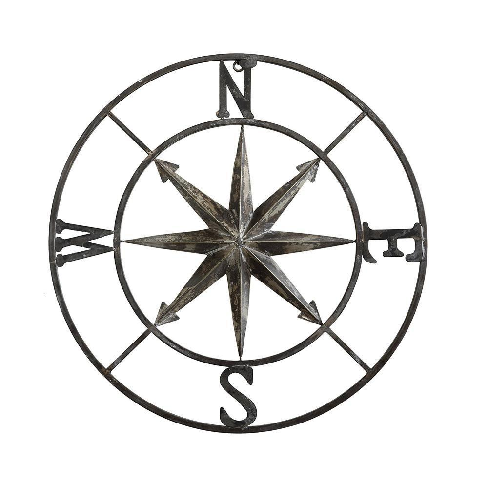 Metal Wall Decor Compass Country Western Rustic 30  Wedding Office Gift New