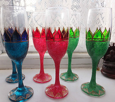 Fairy Flower Champagne Prosecco Flutes Glasses Boho Hippy Handpainted Gift Pixie