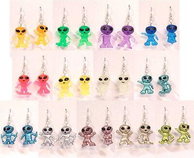 "PICK ONE~ Colored UFO Invasion Aliens 1"" Mini Figures Figurines Dangle Earrings"