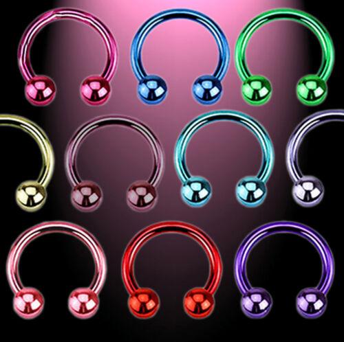 Neon Titanium Anodized Horseshoe 1,2 x 8 mm 10 él set o individualmente 10 colores