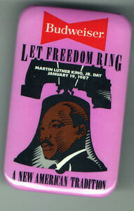 1987 pin Dr. KING Day  BUDWEISER BEER pinback CIVIL RIGHTS button January 19
