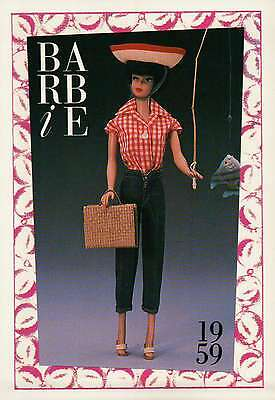 "Barbie Collectible Fashion Trading Card  /"" Picnic Set /"" Blue Jeans Zipper 1959"