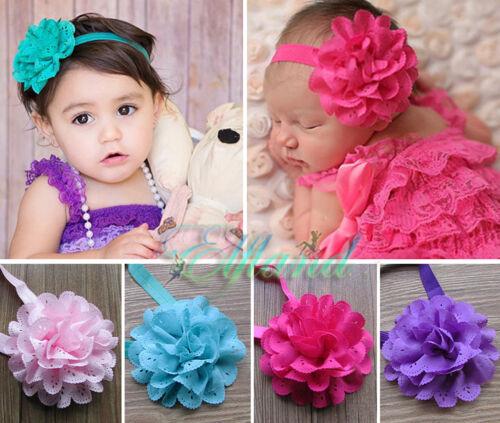 Baby Mädchen Taufe Haarband Stirnband Kopfband Haarschmuck Blume Ruffle