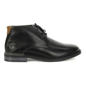 Hush Puppies Men's Davis Chukka Boots Black Leather HM02078-007 NEW