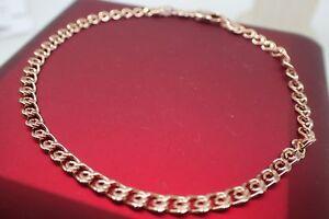 Ladies-14k-9k-Rose-gold-Solid-3mm-Slim-Chain-Crub-Link-Men-039-s-Women-039-s-bracelet