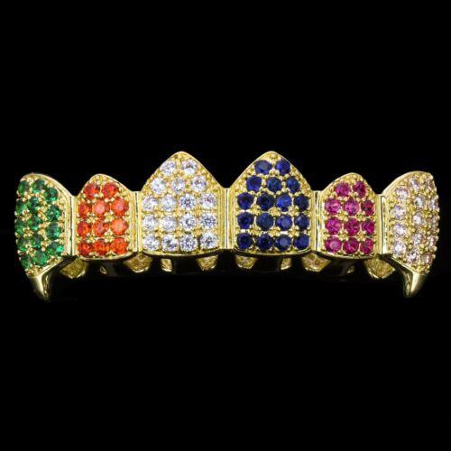 18k Vergoldet Cz Cluster Custom Regenbogen Top Unten Fang Grillz