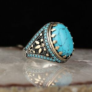 Details about 925 Sterling Silver Handmade REAL Turquoise Stone Turkish  Ottoman Man Ring