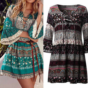 Vintage-Women-Floral-Print-3-4-Sleeve-Dress-Ladies-Evening-Party-Plus-Size-S-5XL