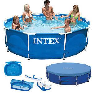 intex metal frame swimming pool schwimmbecken schwimmbad 305 cm 457 cm ebay. Black Bedroom Furniture Sets. Home Design Ideas