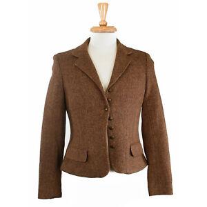 Ralph Lauren Chaps Women s Brown Herringbone 7 Btn Wool Blazer ... cfcd1595f28