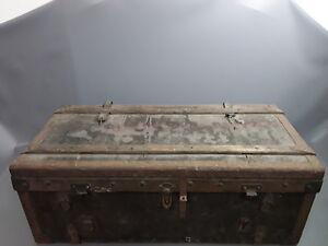 Ancienne malle en bois coffre de rangement vintage coffre à jouets ...
