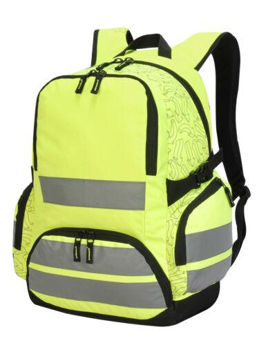 SJL SH7702 HI-VIS VIZ Rucksack Backsack Work Walking Cycling Hiking Bag 30L