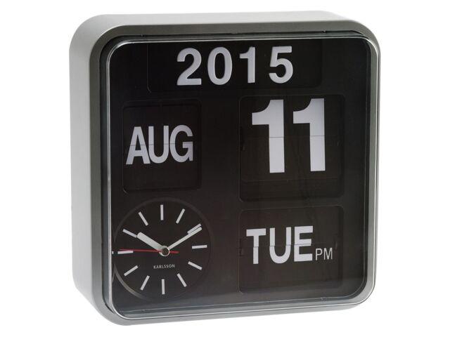 Karlsson Mini Kippen Silber Uhr Kalender Digital Stilvoll Designer Uhr
