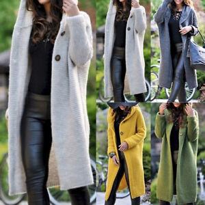 Frauen-Langarm-Cardigan-Strickjacke-Sweater-mit-Kapuze-Pullover-Jacke-Mantel