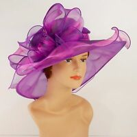 New Church Kentucky Derby Wedding Party Organza  Dress Hat 2967 Purple