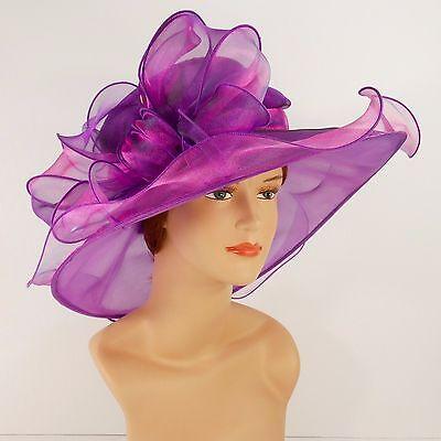 New Church Kentucky Derby Wedding Organza Wide Brim Dress Hat 3546 Purple