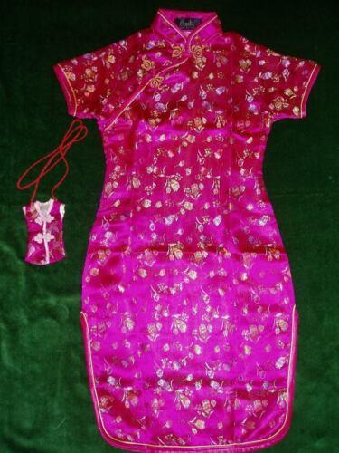 Neuf Filles Satin Floral Robe Chinoise Rose Vif Rouge Rose Bébé 9 Mois à 16 An