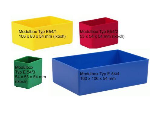 Schubladen-Einsatzkästen // Sortierboxen E54 versch 54 mm hoch Abmessungen