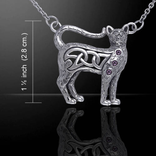 Celtic Knotwork sterling Silver Cat Necklace by peter stone choice of gemstone