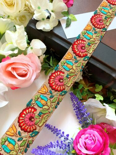 Beige Latest Indian Zari Thread Embroidery Dupatta Sari Border lace Ribbon Trim