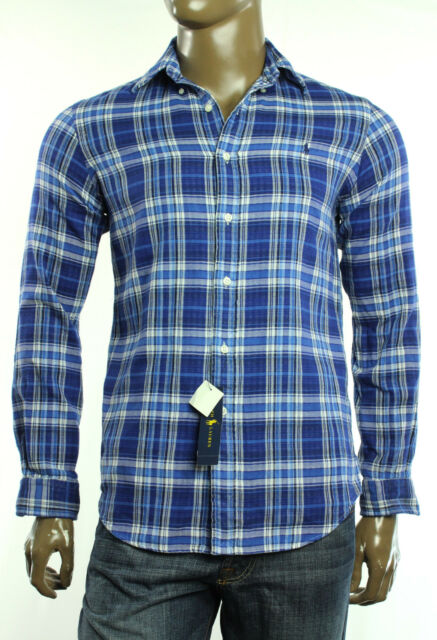 7560a4684573  125 New Mens Polo Ralph Lauren Royal Navy Double Faced Plaid Shirt S