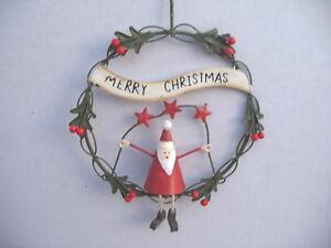 Gisela-Graham-Navidad-Cable-Santa-en-Acebo-034-Feliz-Navidad-034-Corona-Decoracion