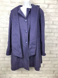 Stunning-Winter-Hooded-Swing-Plum-Purple-100-Wool-Coat-Attached-Scarf-Size-14