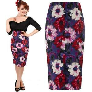 COLLECTIF-FIONA-WINTER-FLORAL-WIGGLE-PENCIL-SKIRT-VINTAGE-ALTERNATIVE-SIZE