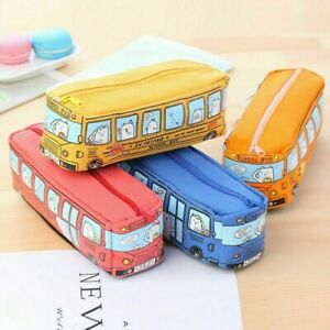 Canvas-Bus-Pencil-Case-Large-Capacity-Pen-Box-School-Stationery-Cosmetic-Bag-Red