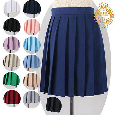 Japan harajuku High School Girls uniforms Solid Pleated Mini Skirts Womens Sailo