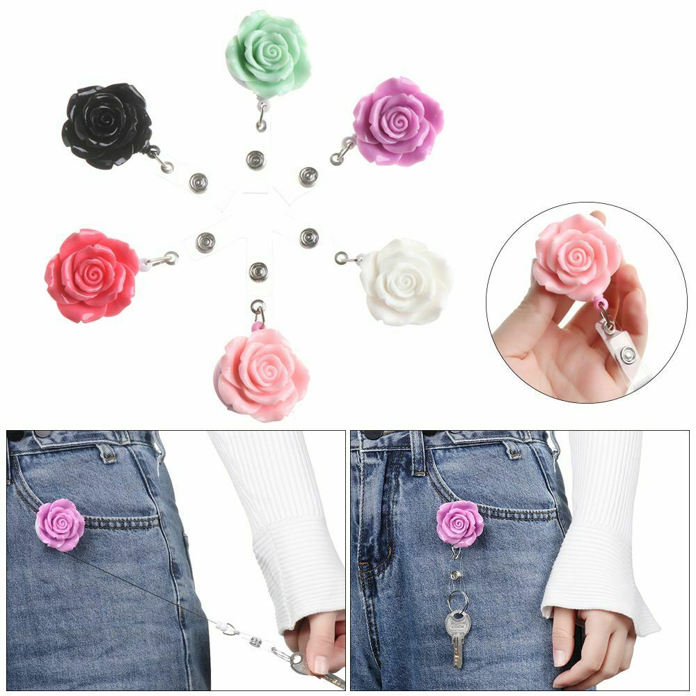 Clip Stationery Flower Shape Anti-Lost Clip Retractable Key Ring Lanyards