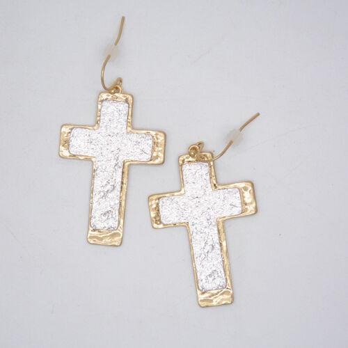 Infeein Bijoux Deux Tons Argent Or Plaqué Cross Charme Boucle d/'oreille pour les cadeaux filles