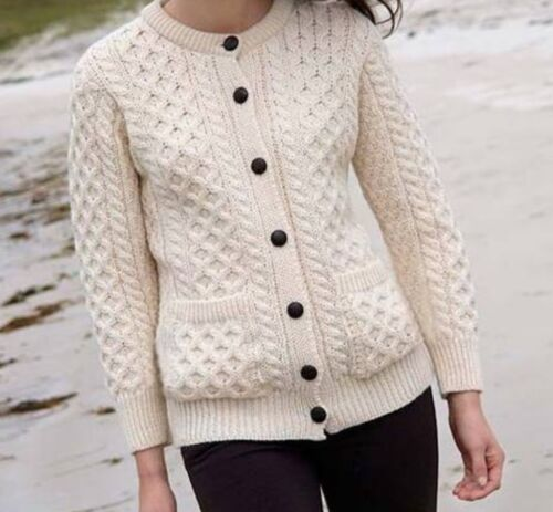 inis crafts cream white wool cardigan small euc