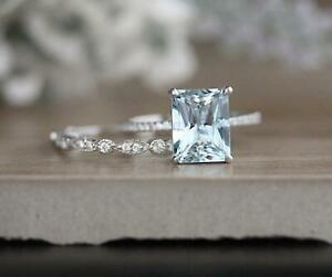2Ct-Emerald-Cut-Aquamarine-Engagement-Bridal-Ring-Set14k-White-Gold-Finish
