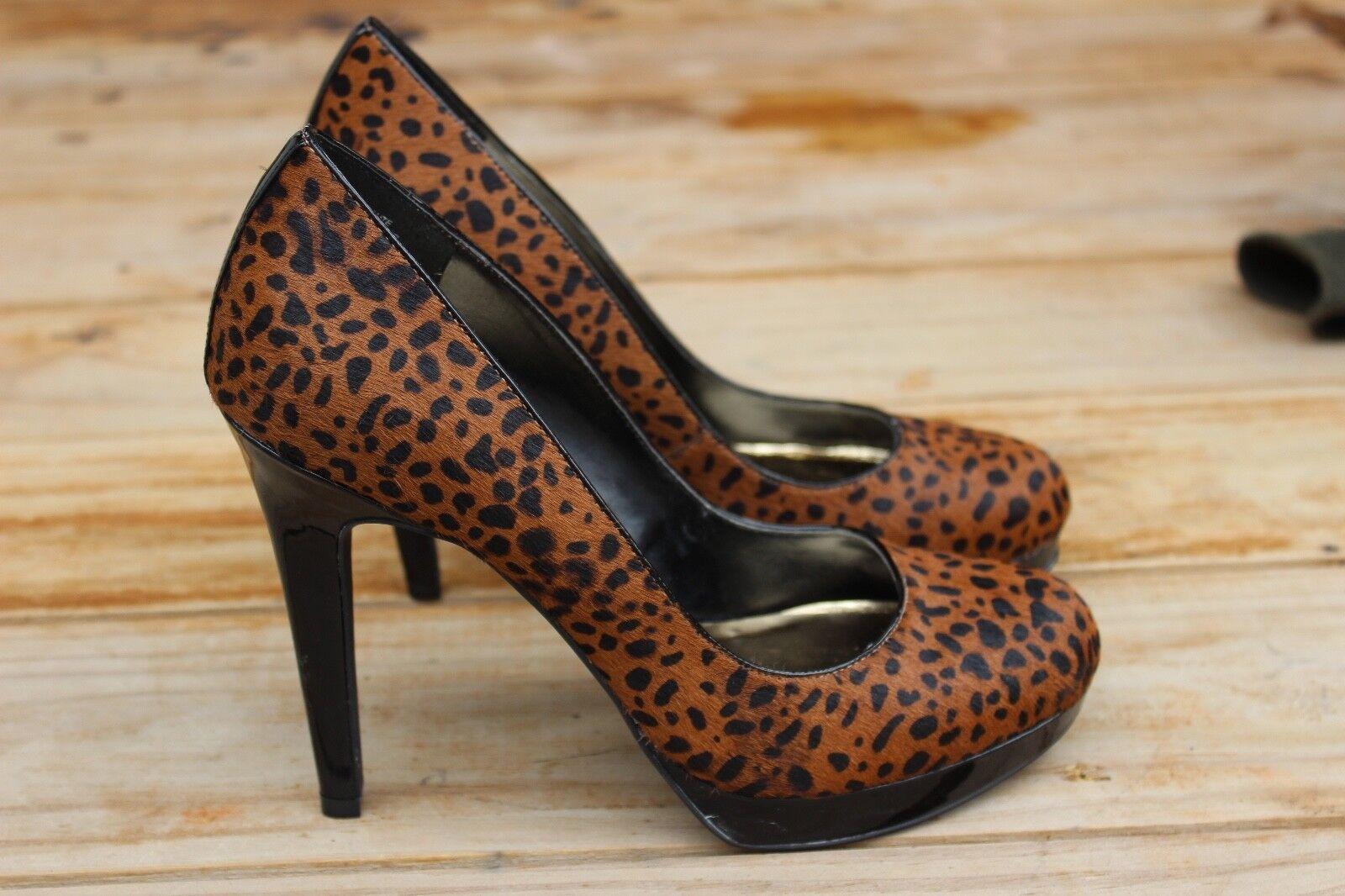 VIA blackLI Women's Leopard Print Calf Hair Leather Platform Pump 10M